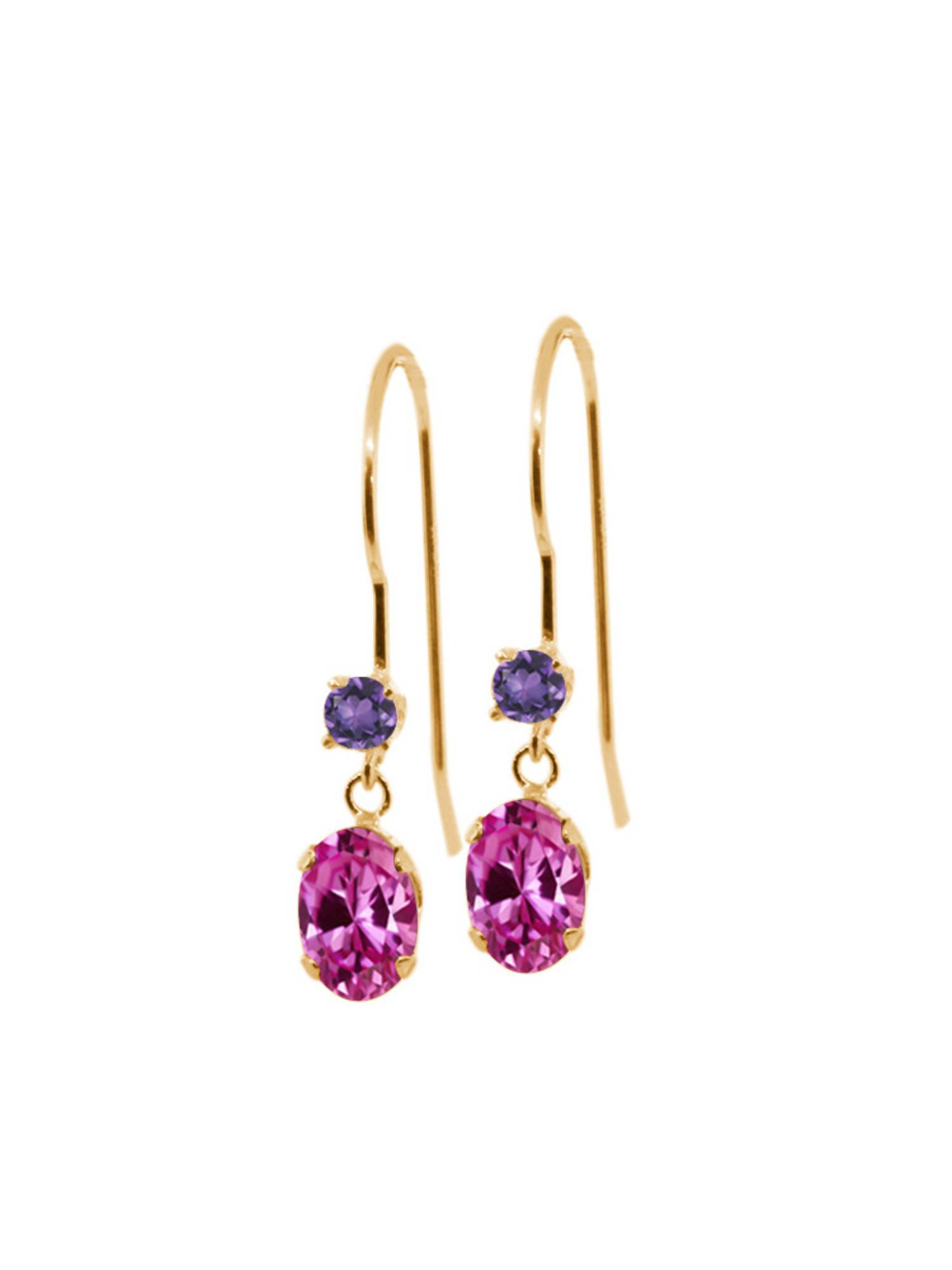 1.32 Ct Oval Pink Created Sapphire Purple Amethyst 14K Yellow Gold Earrings by