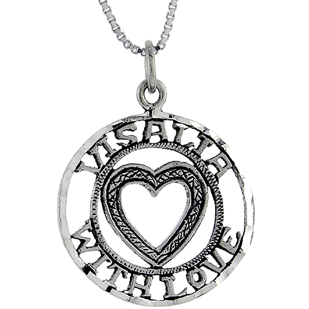 Sterling Silver Visalia with Love Word Pendant, 1 inch wide