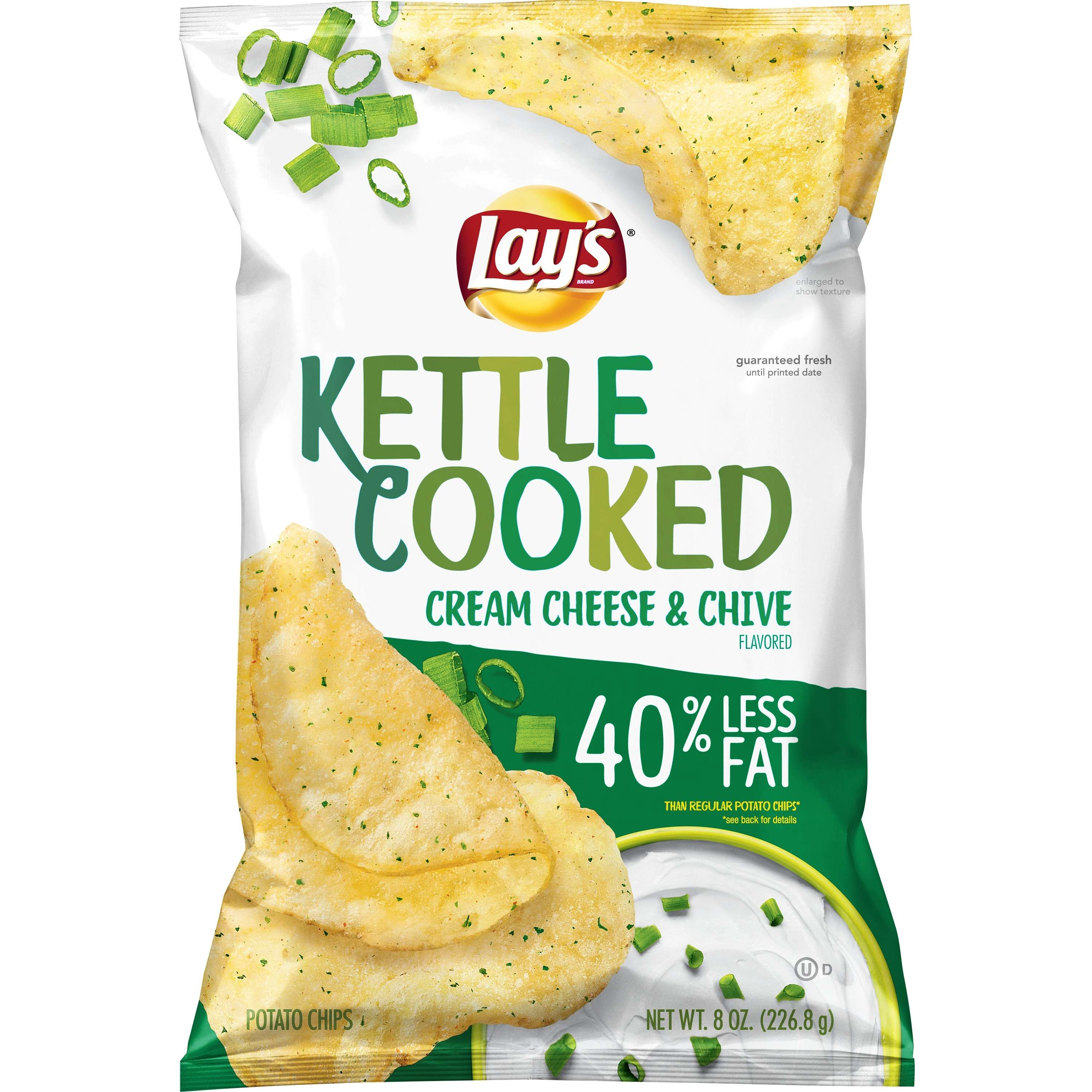 Lay's® Kettle Cooked Potato Chips, Cream Cheese & Chive, 8 oz. Bag