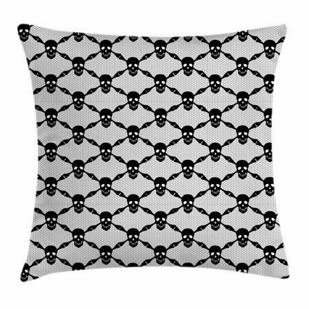 Gothic Throw Pillow Cushion Cover, Halloween Horror Theme Spooky Black Skulls Checkered Pattern with Skeleton Bones, Decorative Square Accent Pillow Case, 18 X 18 Inches, Black White, by Ambesonne](Office Themes For Halloween)
