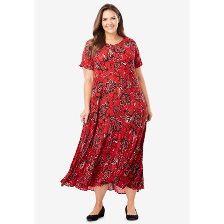 Plus Size Petite Crinkle Dress