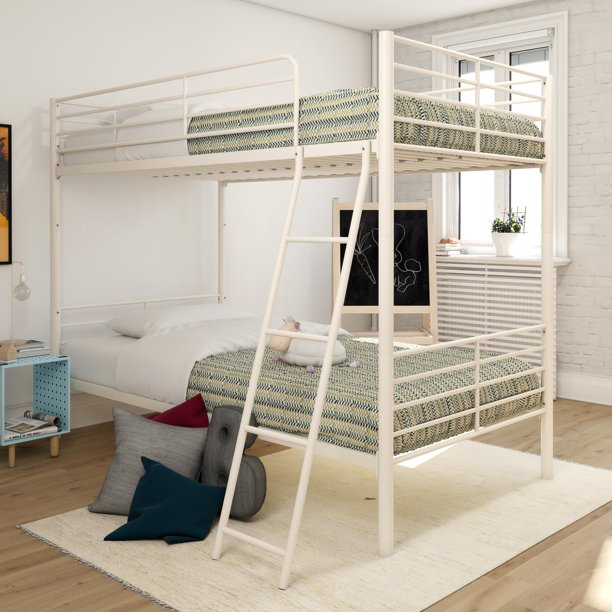 Mainstays twin over twin convertible bunk bed, white