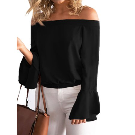 Womens Sexy Off Shoulder Flare Long Sleeve Chiffon Blouses