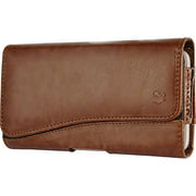 HTC Desire 530 - EXTRA LARGE Horizontal Leather Pouch Carrying Case Holster Belt Clip Magnetic Closure Fits - Brown 2