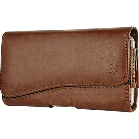 LG X Power K6P - EXTRA LARGE Horizontal Leather Pouch Carrying Case Holster Belt Clip Magnetic Closure Fits - Brown 2