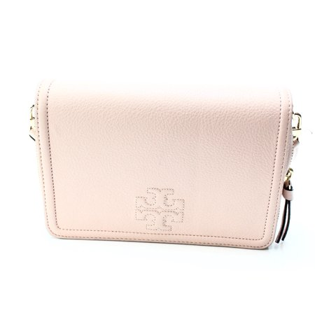 Tory Burch New Pink Nude Pebble Thea Flat Wallet Crossbody  Bag Purse