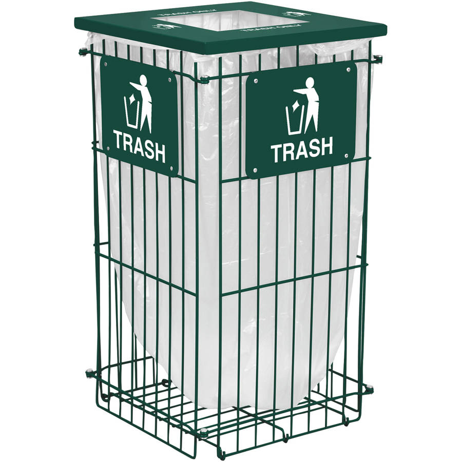 Ex-Cell Clean Grid Fully Collapsible Square Top Waste Receptacle, 45 gallon, Hunter Green