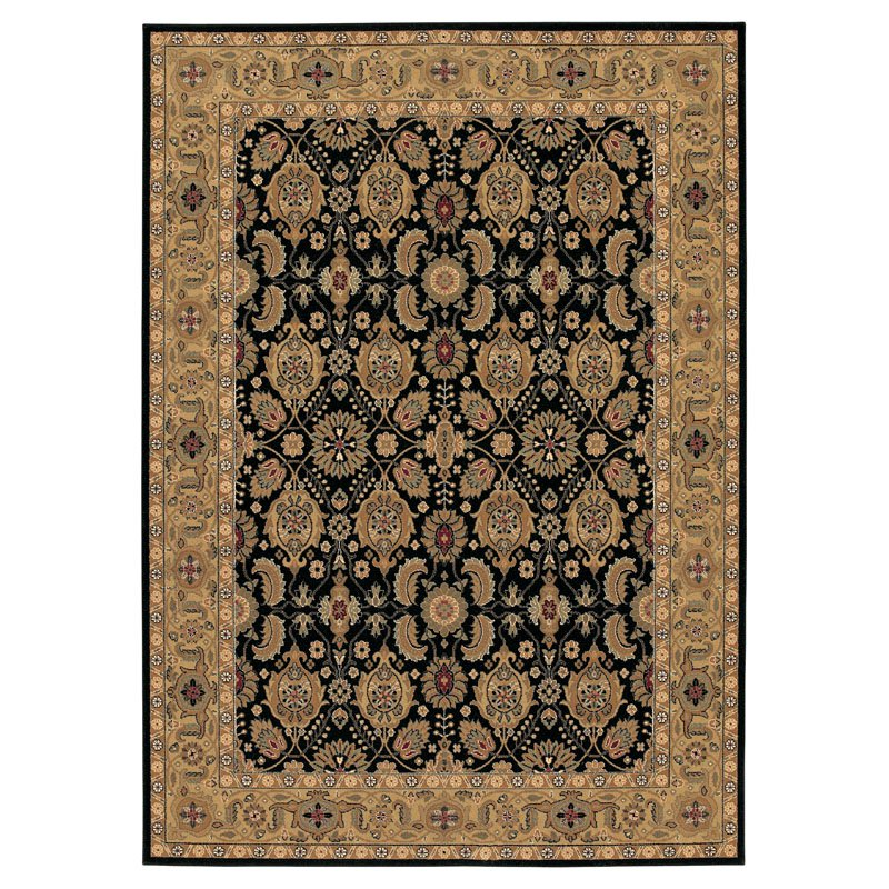 Couristan Royal Kashimar All Over Vase Rug In Black-Deep Maple - (4 Foot 6 Inch Round)