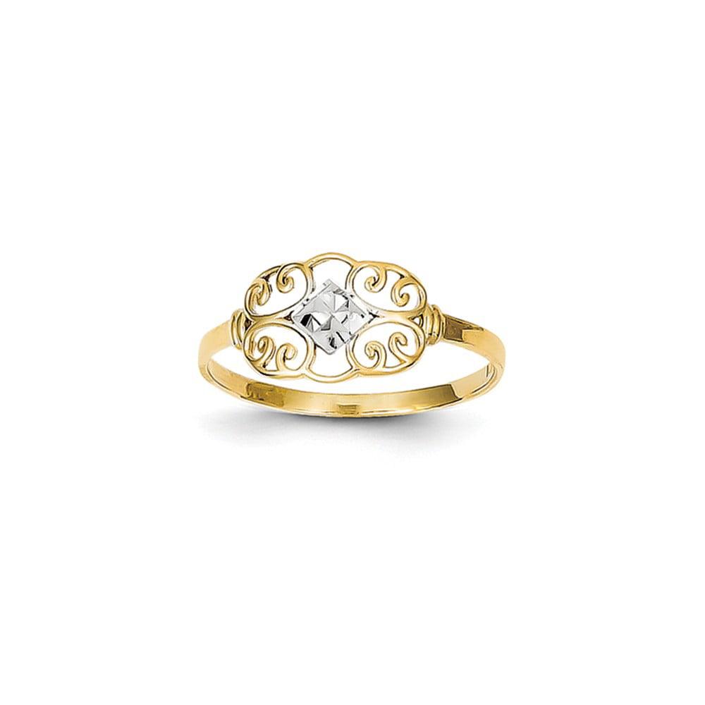 14k Yellow Gold & Rhodium Filigree Ring