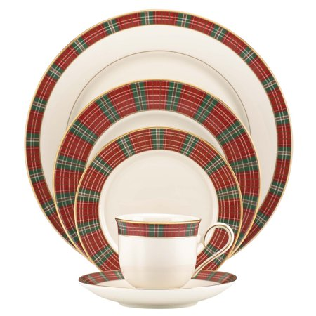 - Lenox Winter Greetings Plaid Bone China 5 Piece Dinnerware Set