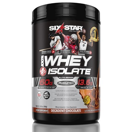 Six Star Pro Nutrition Elite Series Whey Isolate Protein Powder, Decadent Chocolate, 60g Protein, 1.5