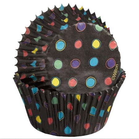 Black Foil No Fade Cupcake Liners with Neon Dots, Wilton Color cups are specially designed to keep colors from fading after baking; foil-lined to keep colors.., By Wilton - Neon Cupcake Liners