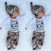 Newborn Infant Baby Girl Boy Romper+Cowboy Long Pants Hat 3pcs Outfit Set Clothes 0-18 Months