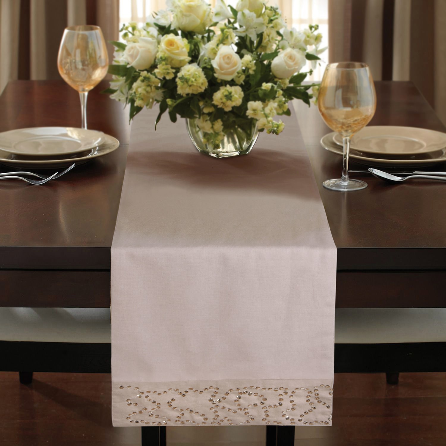 Jovi Home  Savona Linen Blend Hand-sequined Table Runner