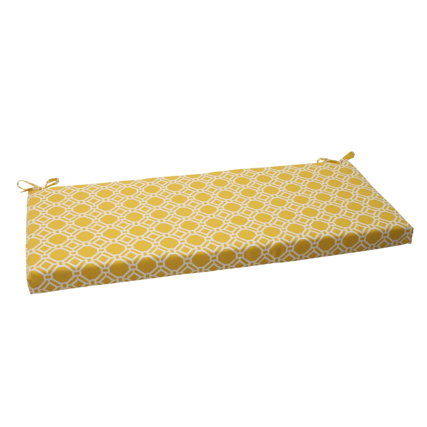 "45"" Yellow & White Octagonal Chain Outdoor Patio Furniture Bench Seat Cushion"