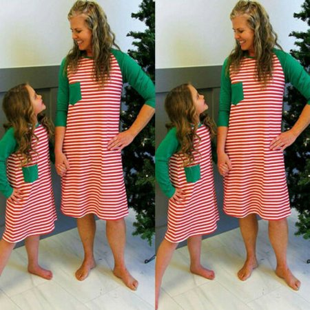 Mother Baby Daughter Halloween Costumes (Xmas Striped Matching Women Girl Mother Daughter Christmas Dress Family)