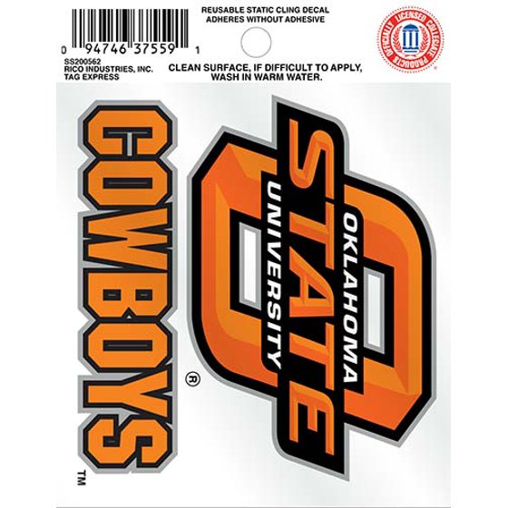promo code 36a58 756c2 Rico Industries Inc. Oklahoma State University® Cowboys™ Reusable Static  Cling Decal - Walmart.com