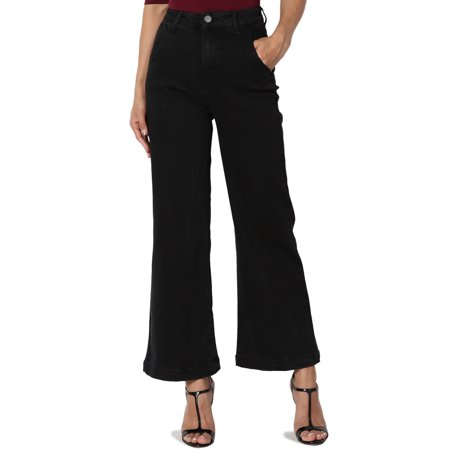 TheMogan Junior's Vintage Yoke Back High Rise Waist Wide Leg Crop Culotte Jeans