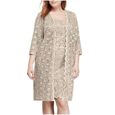edb72ce5 R&M Richards - RM Richards Women's Plus Size All Over Sequin Lace Short Jacket  Dress - Walmart.com