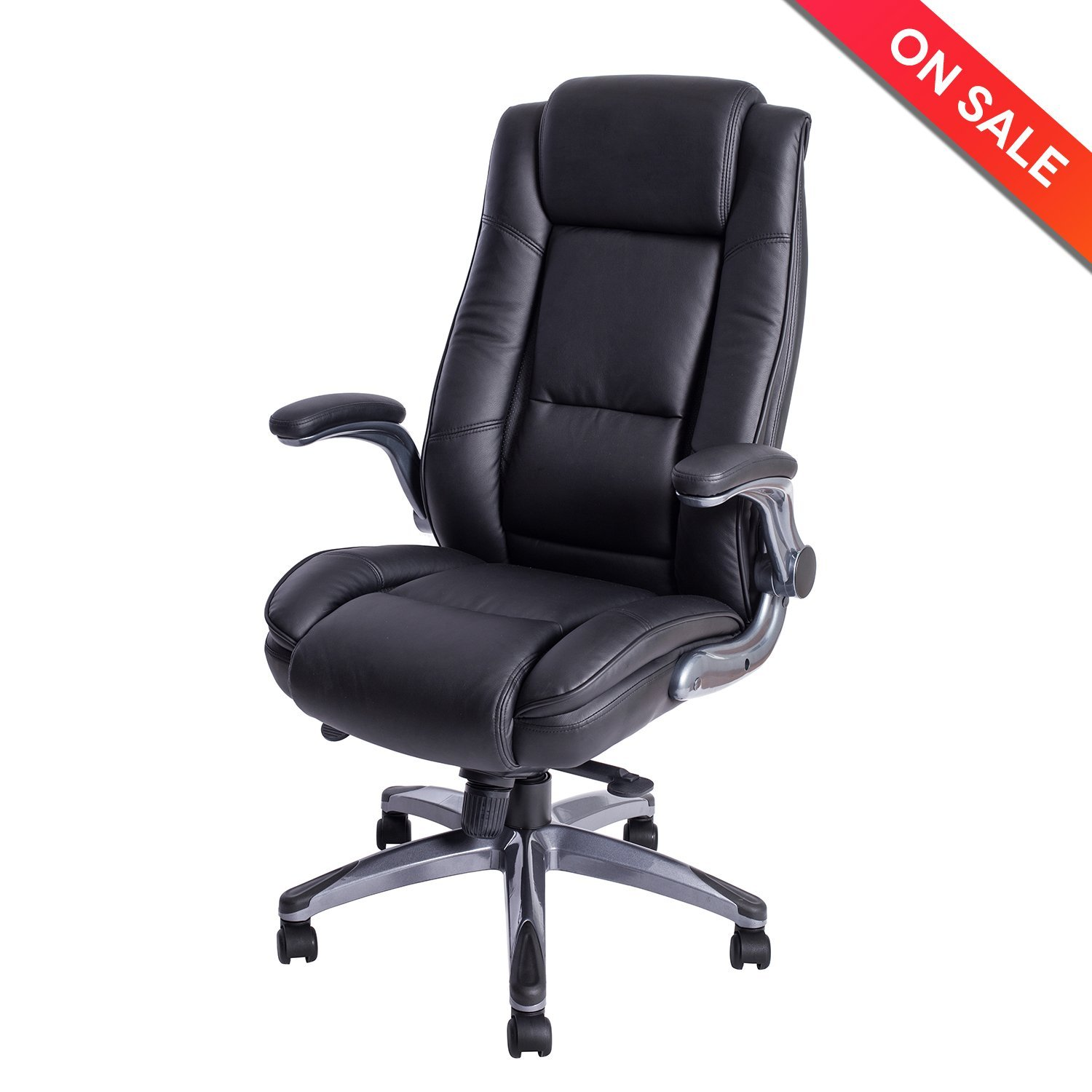 LCH High Back Leather Office Chair   Adjustable Angle Recline Locking  System And Flip Up