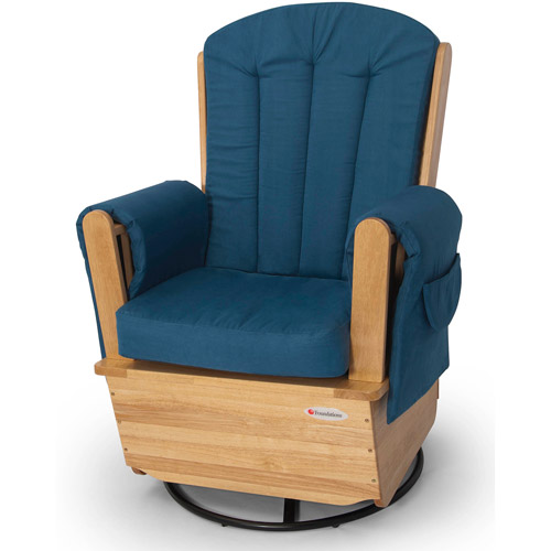 Foundations SafeRocker SS Swivel Glider Rocker, Natural/Blue