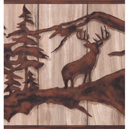 Tawny Brown Abstract Wild Forest Deer Bear on Beige Faux Wood Wallpaper Border Retro Design, Roll 15' x