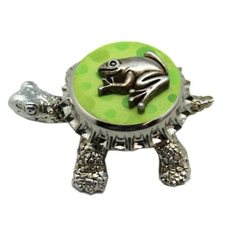 Silver Colored Turtle Figure w/Green Bottle Cap Shell - By Ganz