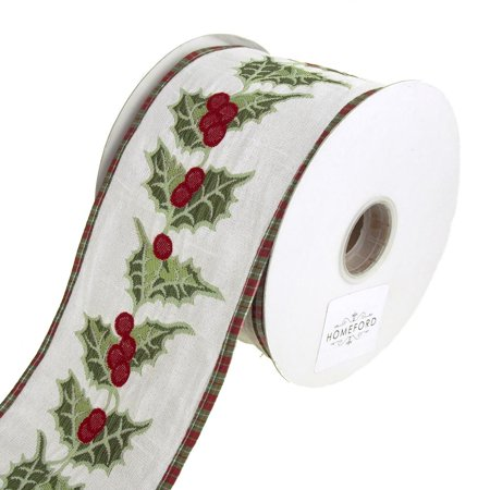 Holly Berry and Leaf Embroidered Wired Christmas Holiday Ribbon, 4-Inch, 10 Yards