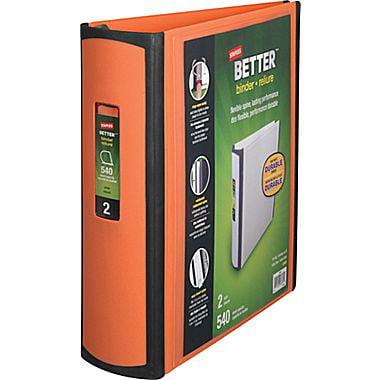 staples better 2 inch slant d 3 ring view binder orange 13469