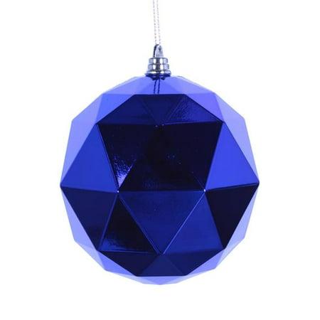 8 in. Blue Shiny Geometric Christmas Ornament Ball ()
