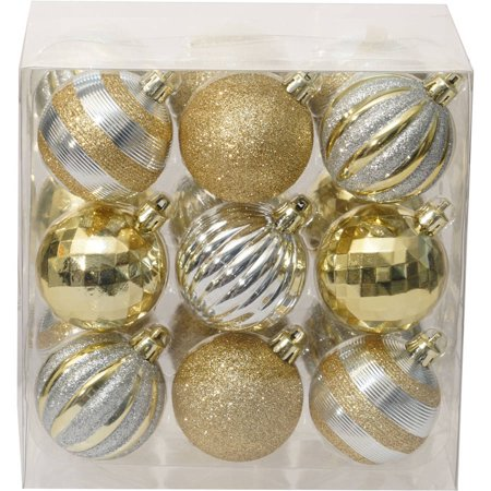 Holiday Time Christmas Ornaments Traditional 60mm Shatterproof, Set of 18, Gold / Silver - Walmart.com