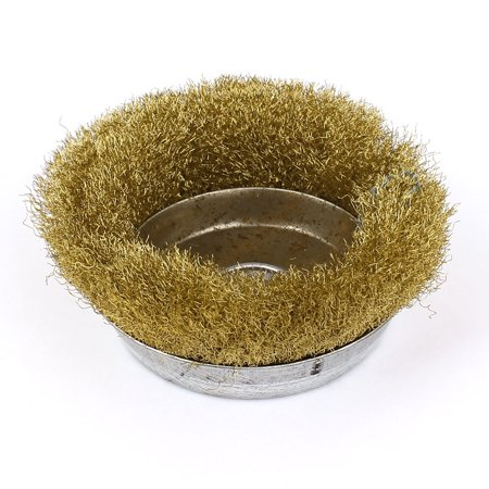 9cm Dia Brass Crimped Wire Cup Wheel Rust Removal Cleaning Brush