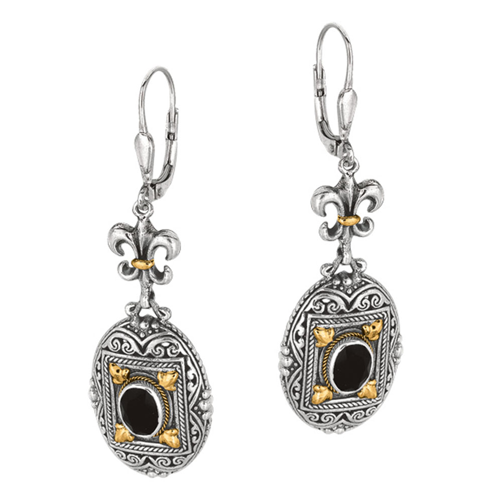 Phillip Gavriel 18k Gold & Sterling Silver Byzantine Ottoman Black Onyx Earrings