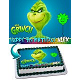 The Grinch Edible Cake Topper Personalized Birthday 1/4 Sheet Decoration Custom Sheet Party Birthday Sugar Frosting Transfer Fondant Image for cake