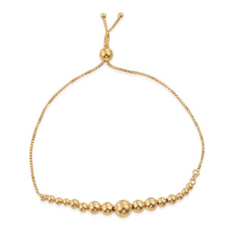 14K Yellow Gold Plated Silver Bolo Bracelet for Women Size Adjustable