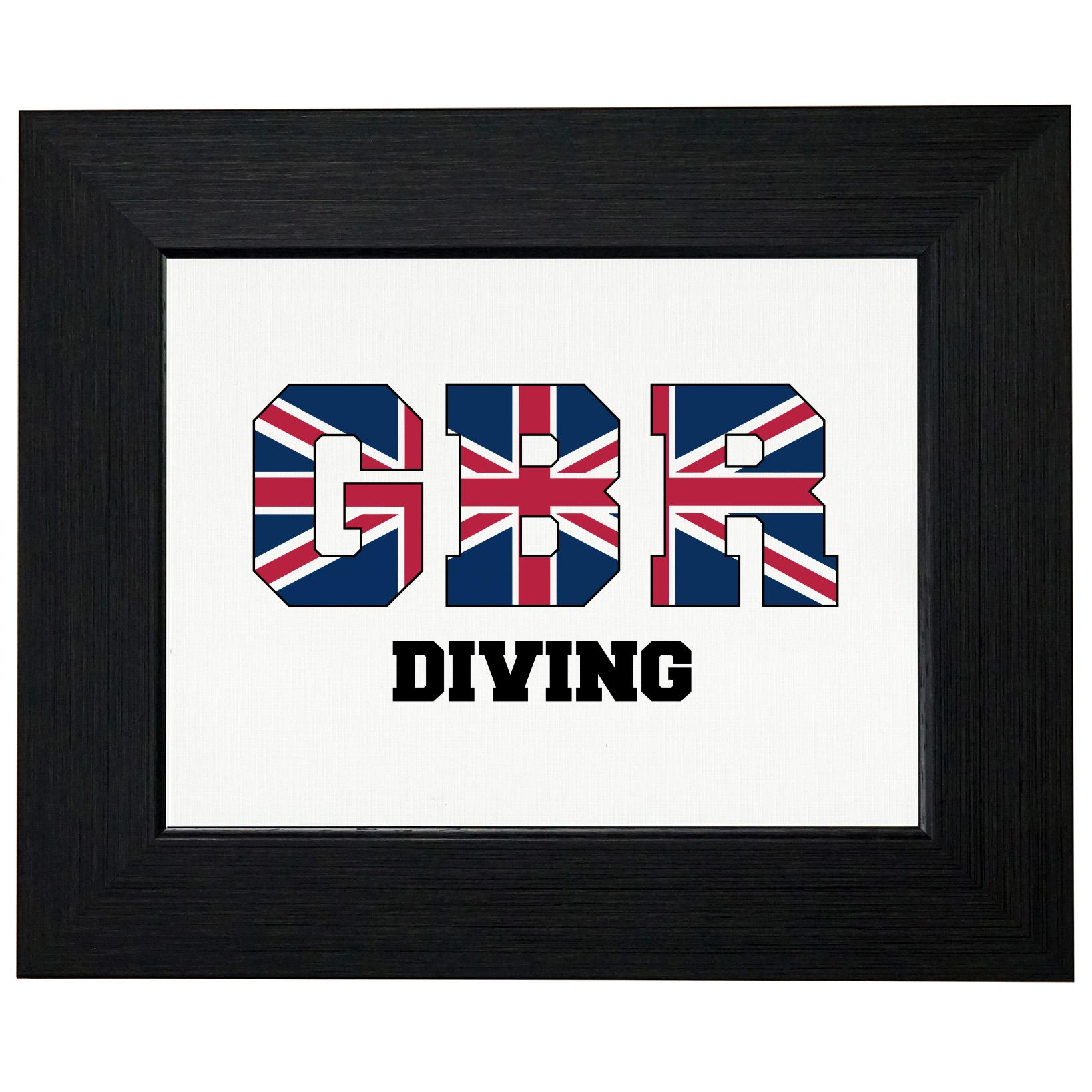 Great Britain Diving - Olympic Games - Rio - Flag Framed Print Poster Wall or Desk Mount Options