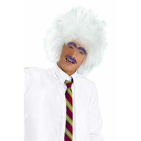 Afro White Hair Mad Scientist Einstein Wig And Facial Hair Costume Accessories