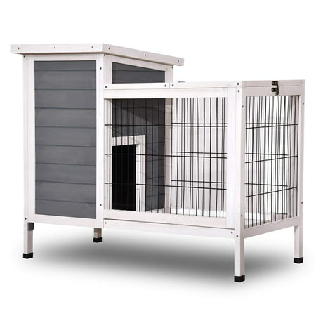 Lovupet Wooden Rabbit Hutch Bunny Cage Bunny Hutch for Indoor Outdoor with Yard Grey 1510