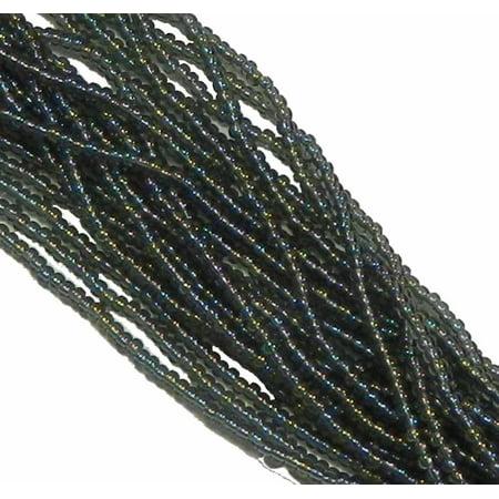 Black Diamond AB Transparent Preciosa Czech Glass 6/0, Loose Seed Beads, on Loose Strung 6 String Hank