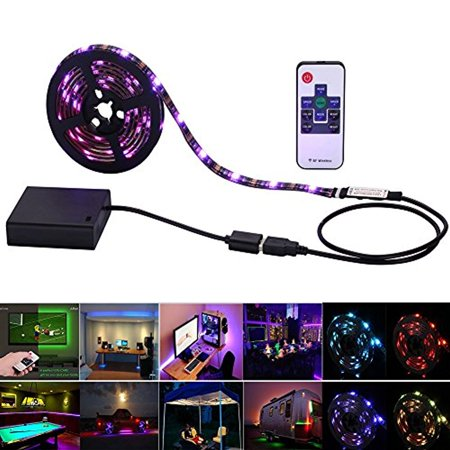 08df170a3714 Inwaysin Led Strip Lights USB Battery Powered RGB Strip Light 6.56ft(2M)  60leds