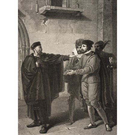 The Merchant Of Venice Act Iii Scene Iii Venice A Street Shylock Salarino Antonio And Gaoler From The Boydell Shakespeare Gallery Published Late 19Th Century After A Painting By Richard Westall