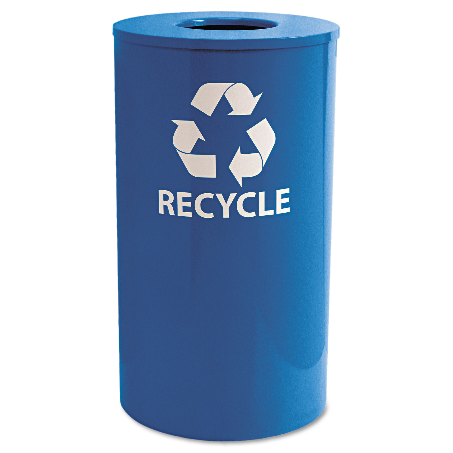 Ex-Cell Indoor/Outdoor Round Steel Recycling Receptacle, 33gal, Blue