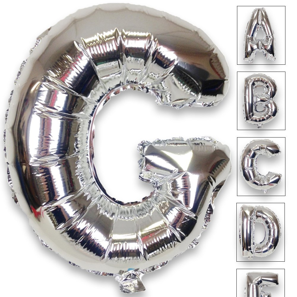 Just Artifacts Shiny Silver (30-inch) Decorative Floating Foil Mylar Balloons - Letter: G - Letter and Number Balloons for any Name or Number Combination!
