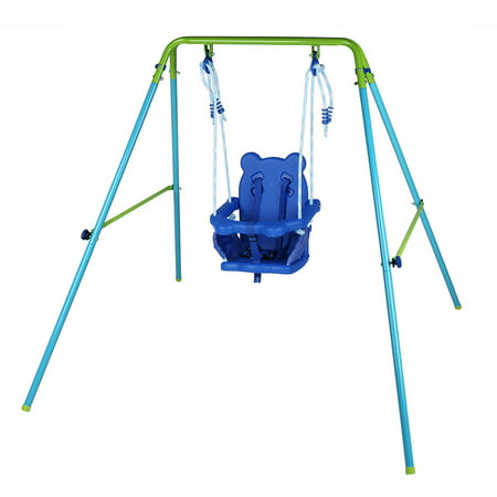 Folding Toddler Blue Secure Swing Set with Safety Seat for Baby/Chirldren's
