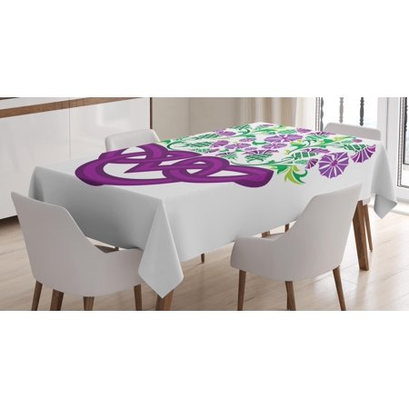 Thistle Tablecloth, Celtic Knot and Thistle Plant in Basket Form with Flowers, Rectangular Table Cover for Dining Room Kitchen, 52 X 70 Inches, Shamrock Green Violet ans Purple, by