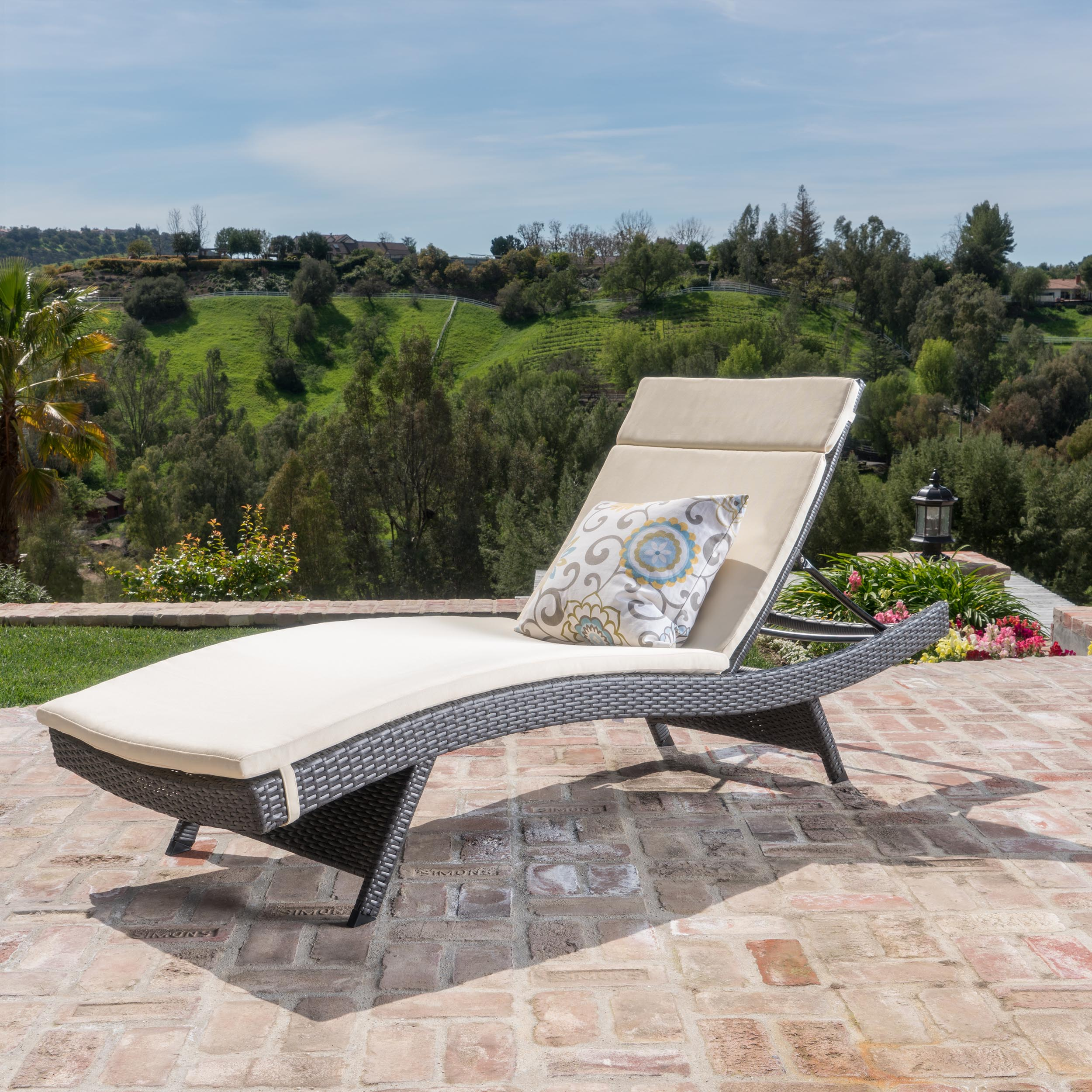 Anthony Outdoor Wicker Adjustable Chaise Lounge with Cushion, Grey, Beige