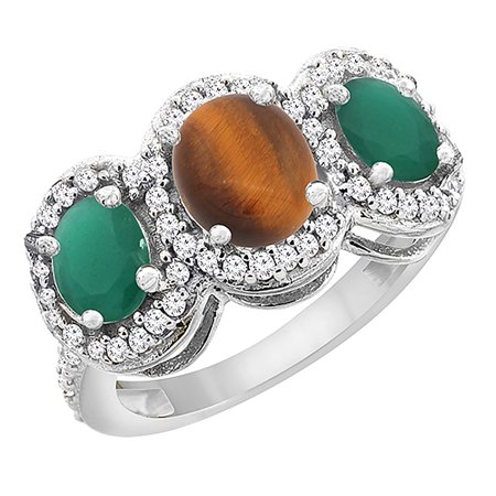 Oval Tigers Eye Cabochon Ring - 10K White Gold Natural Tiger Eye & Cabochon Emerald 3-Stone Ring Oval Diamond Accent, size 5.5
