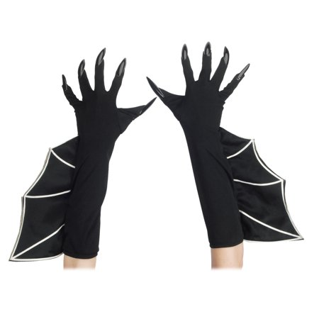 Loftus Long Flaired Bat Witch Costume Gloves w Attached Nails, Black, One-Size for $<!---->