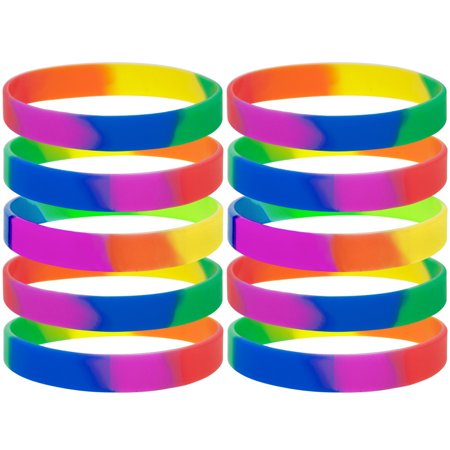 GOGO Rainbow Pride Wristbands Silicone Bracelets Rubber Bands Party Accessories-Rainbow-120 Packs - Rubber Wristbands