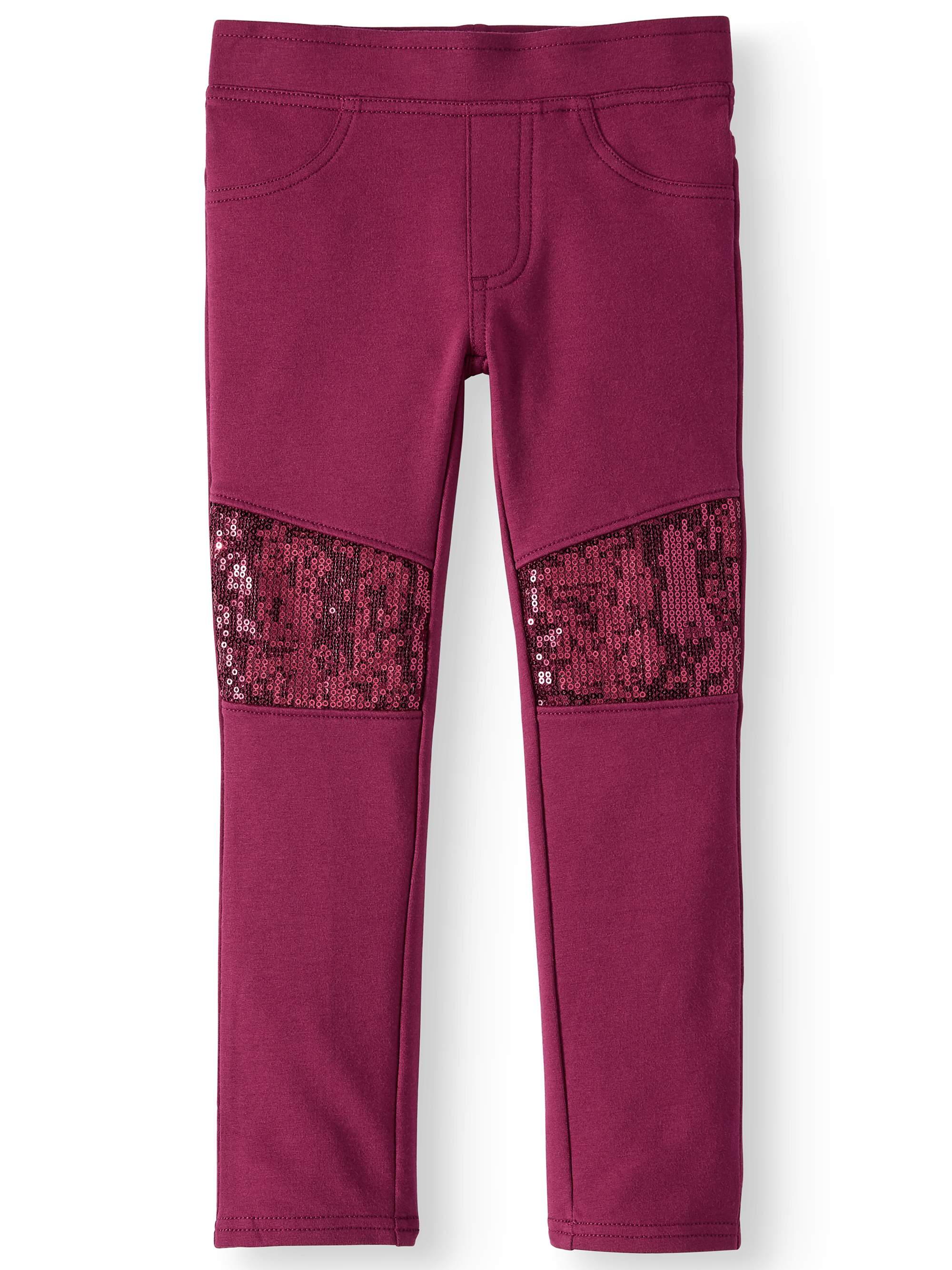 Pull On Jeggings With Sequin Knee Patches (Little Girls & Big Girls)